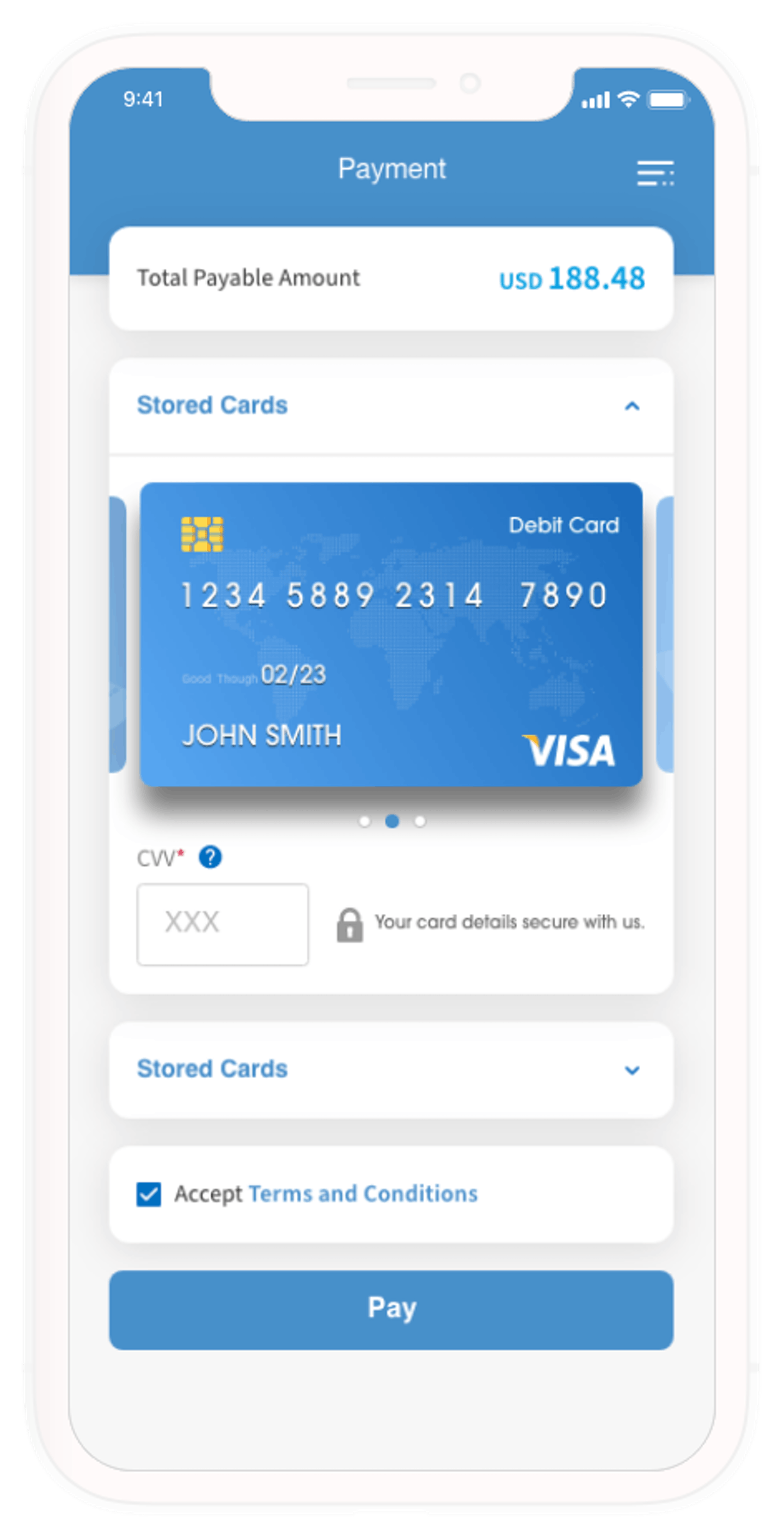 ADC Pay Stored Cards Mobile
