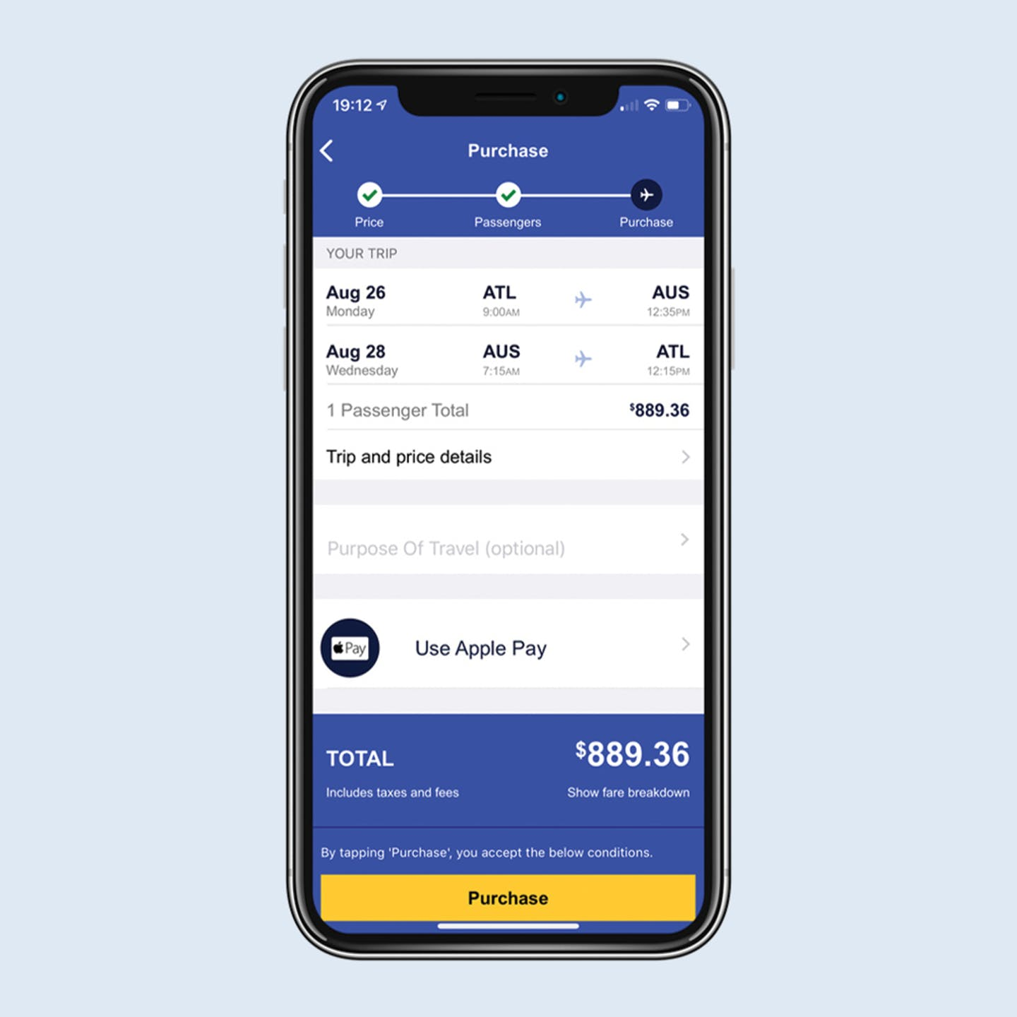 Payment with Apple Pay on Southwest Airliens native mobile app
