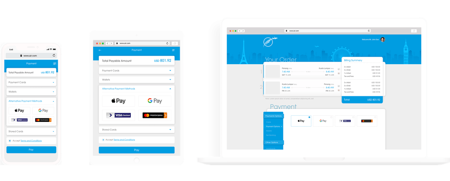Velocity responsive Hosted Payment Page enabling seamless online UX across mobile, tablet, laptop and desktop