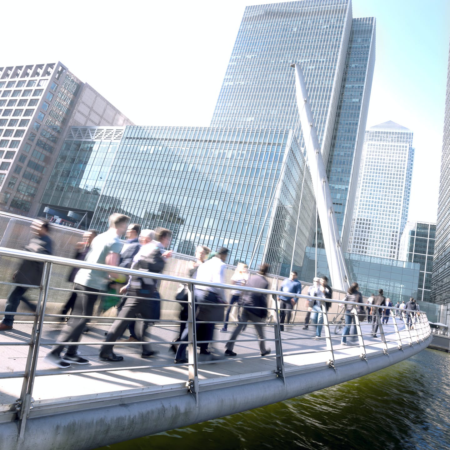 People in the financial district in London