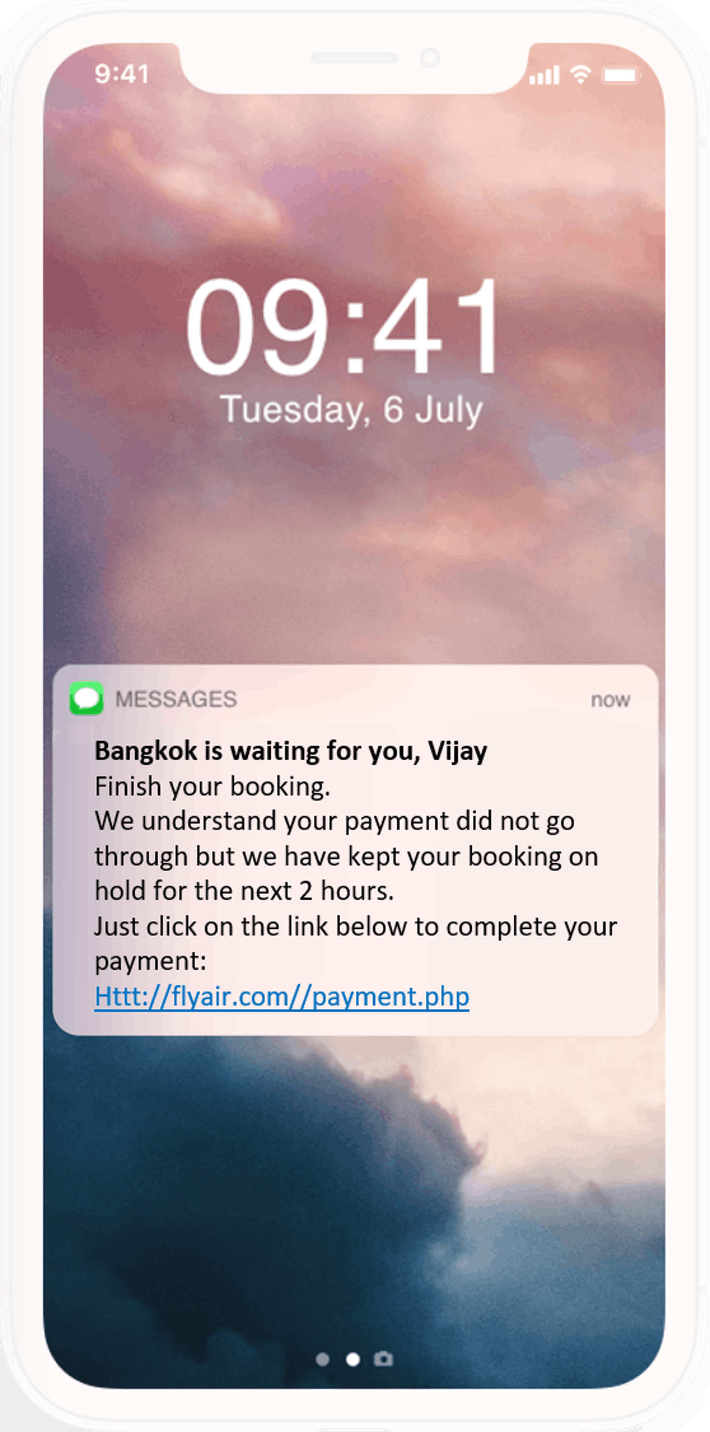 Velocity pay-by-link availabel by in app notification, emal and SMS